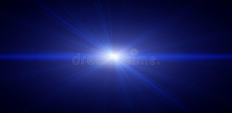 Objets brillants au néon dans l'obscurité Lumière des étoiles bleue illustration stock