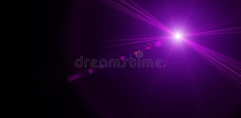 Objets brillants au néon dans l'obscurité Lumière des étoiles pourpre illustration libre de droits