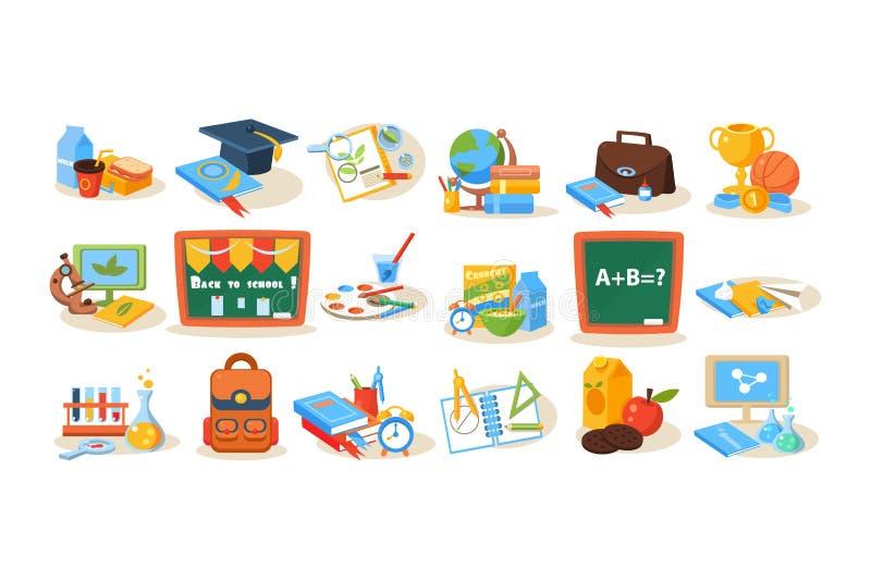 Objets colorés d'école pour le concept d'éducation Tableau, déjeuner, livres, stylos, peintures, microscope, globe, trophée illustration libre de droits