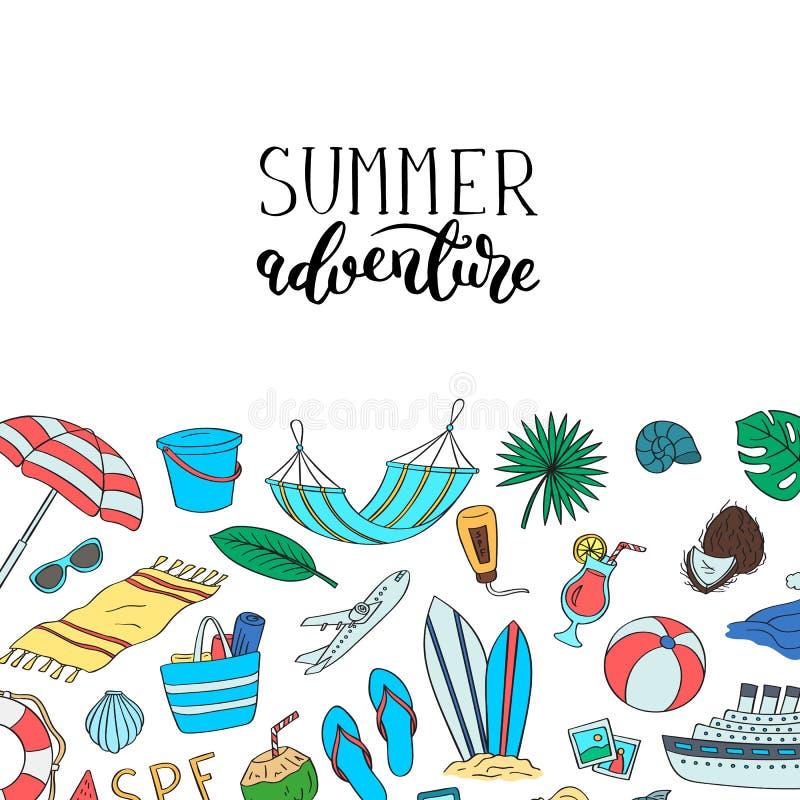 Objets colorés tirés par la main de plage Fond d'éléments de griffonnage de voyage d'été de vecteur avec le lettrage et endroit p illustration libre de droits
