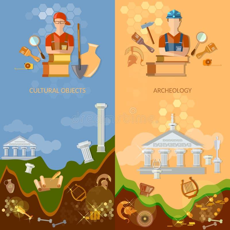 Objets culturels de bannières d'archéologie illustration de vecteur