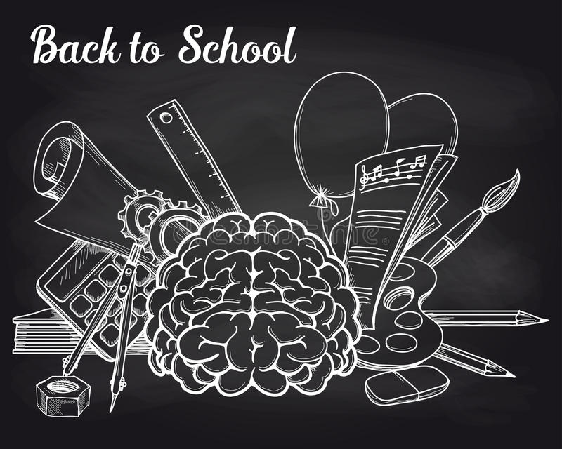 Objets d'école sur le tableau illustration libre de droits