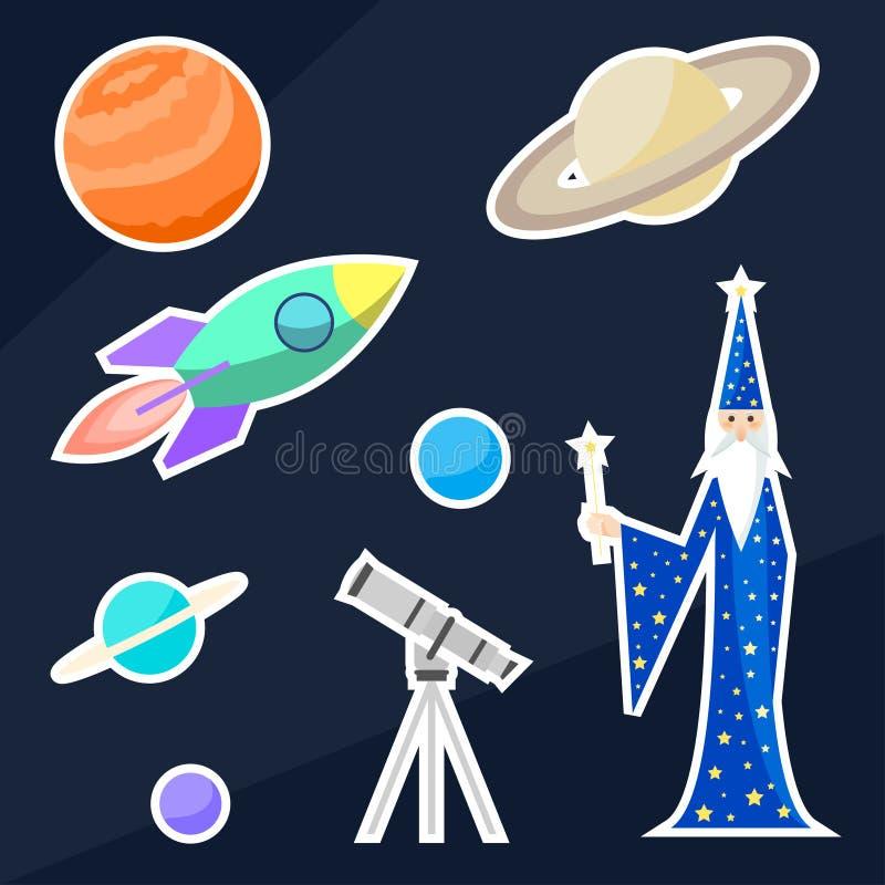 Objets d'astrologue et d'espace de magicien illustration stock