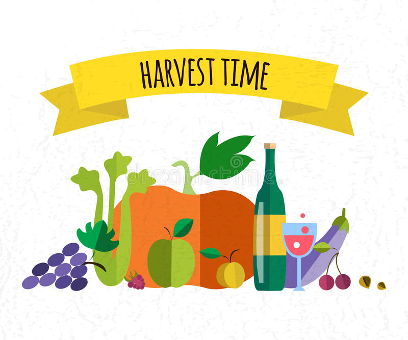 Objets d'icônes de nourriture de récolte illustration de vecteur