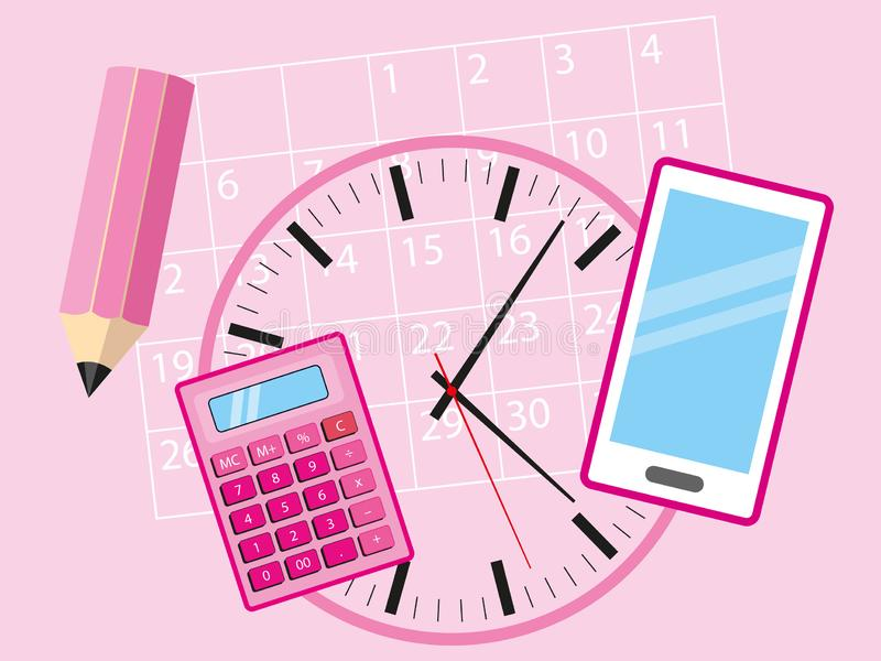 Objets de bureau pour la femme occupée d'affaires - téléphone portable, calculatrice, calendrier, horloge et crayon se trouvant s illustration stock