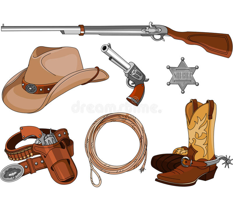 Objets de cowboy réglés illustration de vecteur