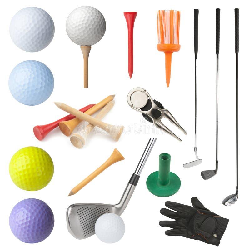 Objets de golf photo stock