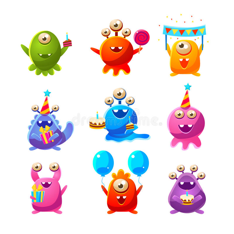 Objets de Toy Aliens With Birthday Party illustration de vecteur