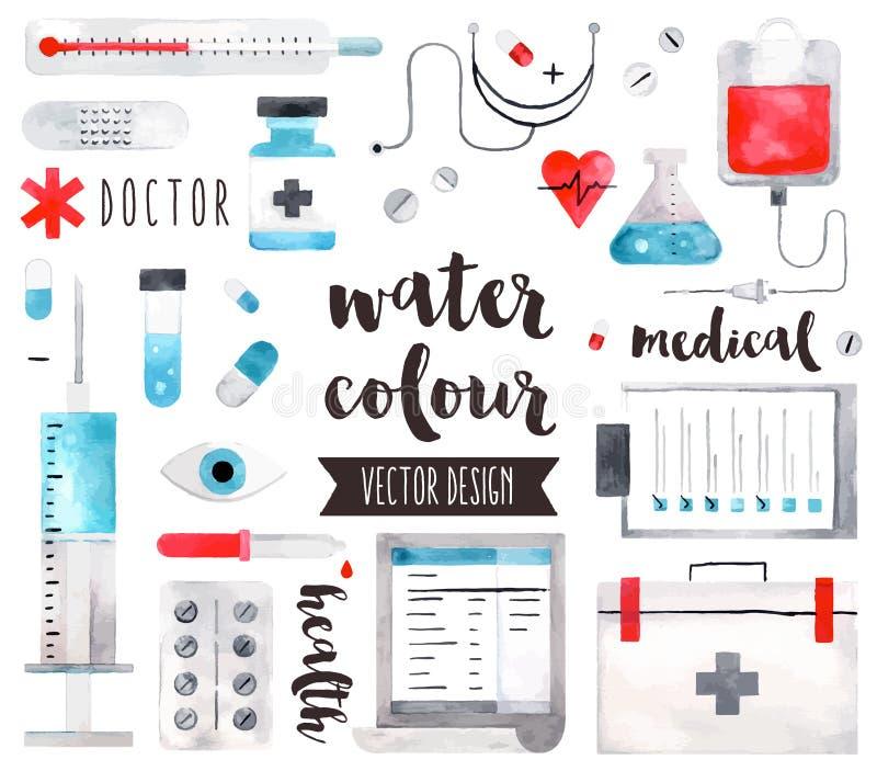 Objets de vecteur d'aquarelle de matériel médical illustration stock