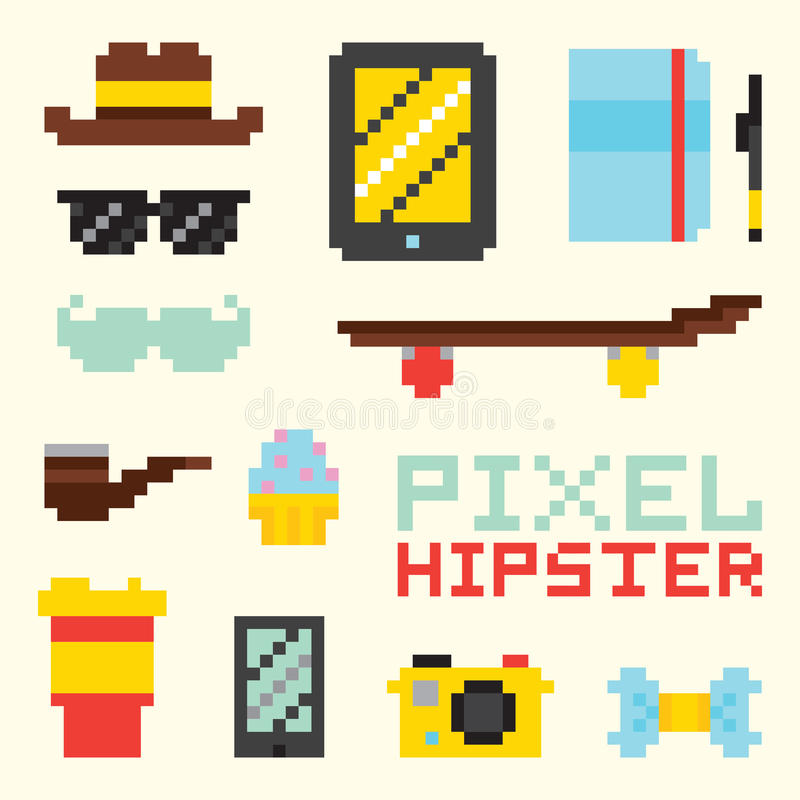 Objets de vecteur d'isolement par hippie de pixel illustration stock