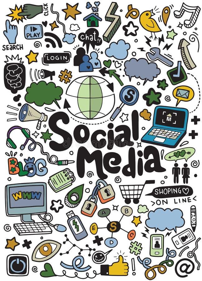 Objets et symboles sur l'élément social de media illustration libre de droits