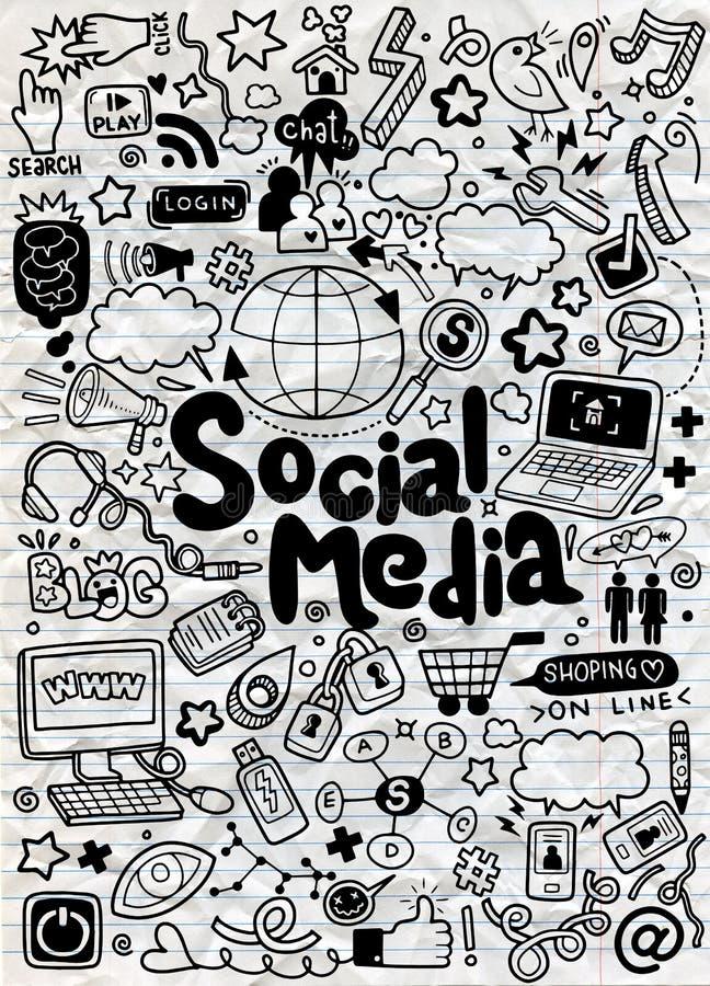 Objets et symboles sur l'élément social de media illustration de vecteur
