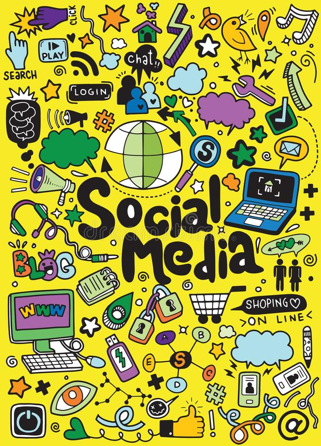 Objets et symboles sur l'élément social de media illustration stock