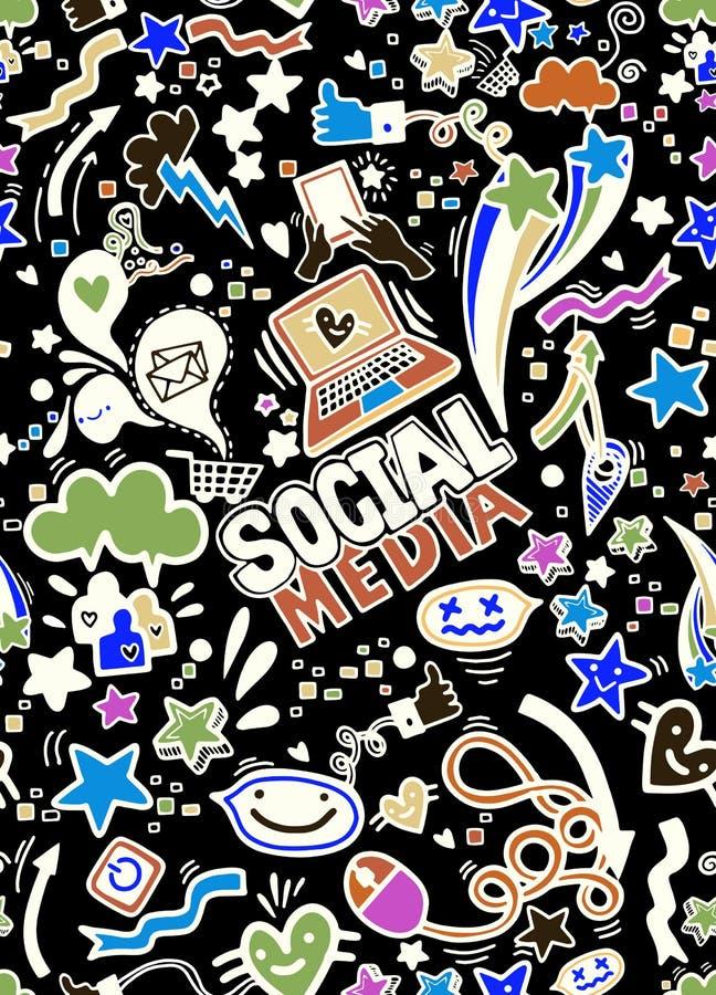Objets et symboles sur l'élément social de media backgro sans couture illustration de vecteur