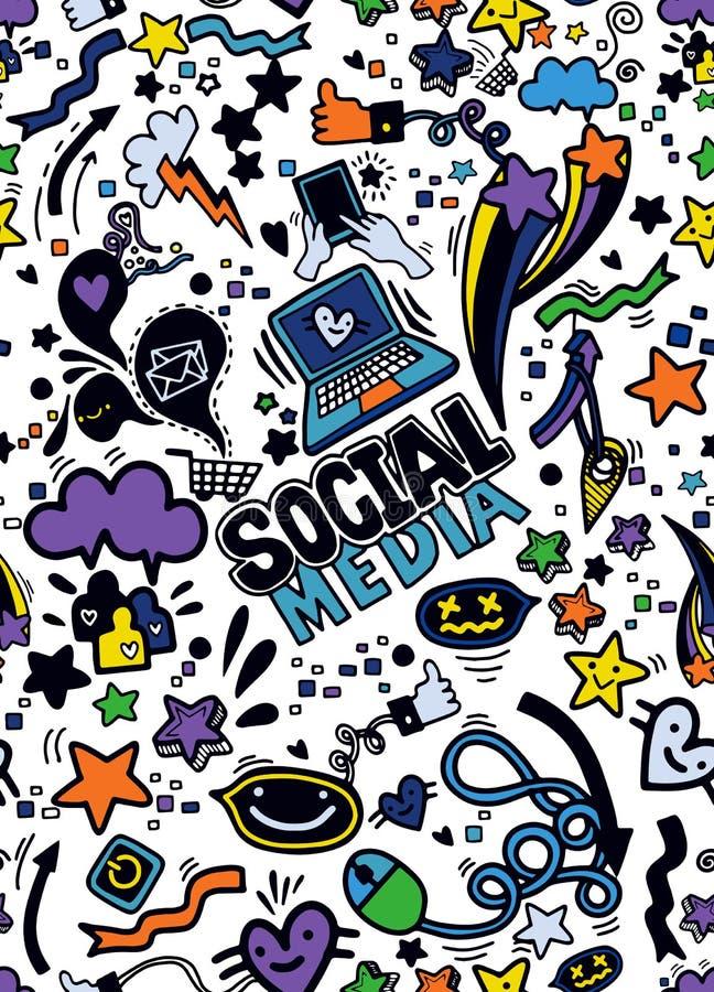 Objets et symboles sur l'élément social de media backgro sans couture illustration libre de droits