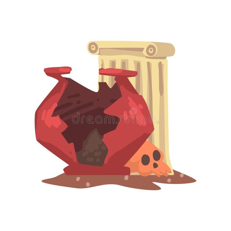 Objets façonnés d'Aarchaeological, fragments de vase antique, colonne, os de crâne, illustration de vecteur de la Science d'arché illustration stock