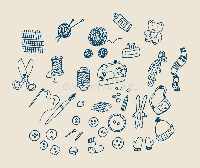 Objets fabriqués à la main d'attraction de main illustration de vecteur