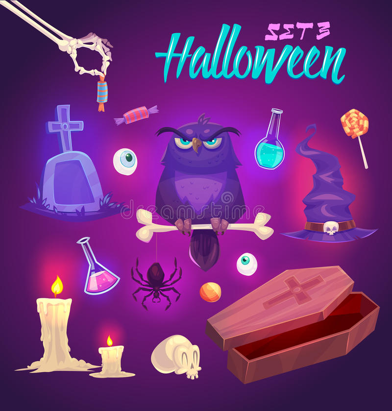 Objets fantasmagoriques de Halloween Illustration de vecteur illustration stock