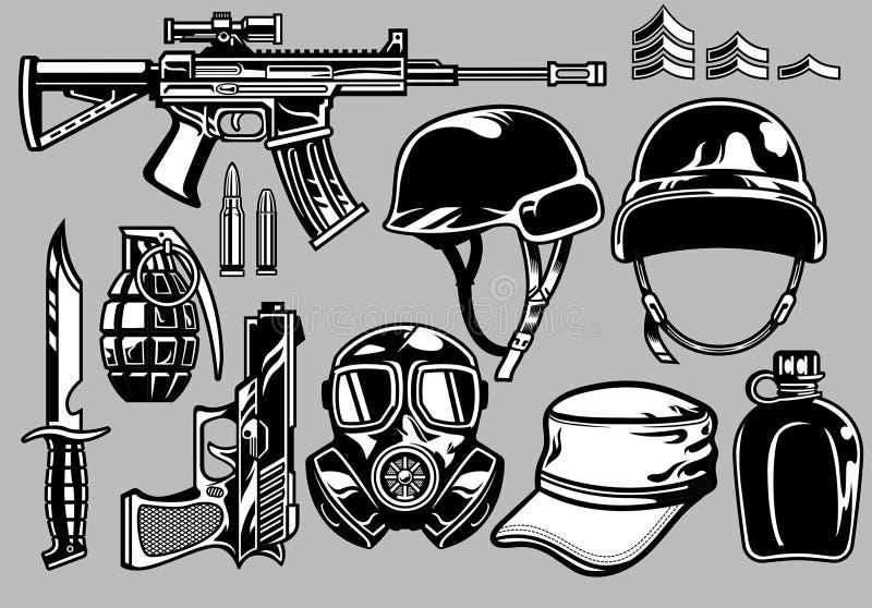 Objets militaires réglés illustration de vecteur