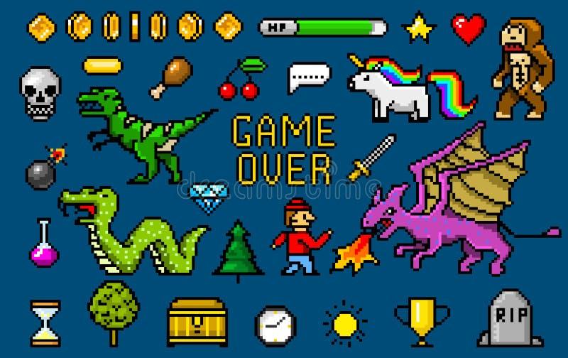 Objets mordus de l'art 8 de pixel Rétros capitaux de jeu Ensemble de graphismes arcades visuelles d'ordinateur de cru poney de di illustration libre de droits