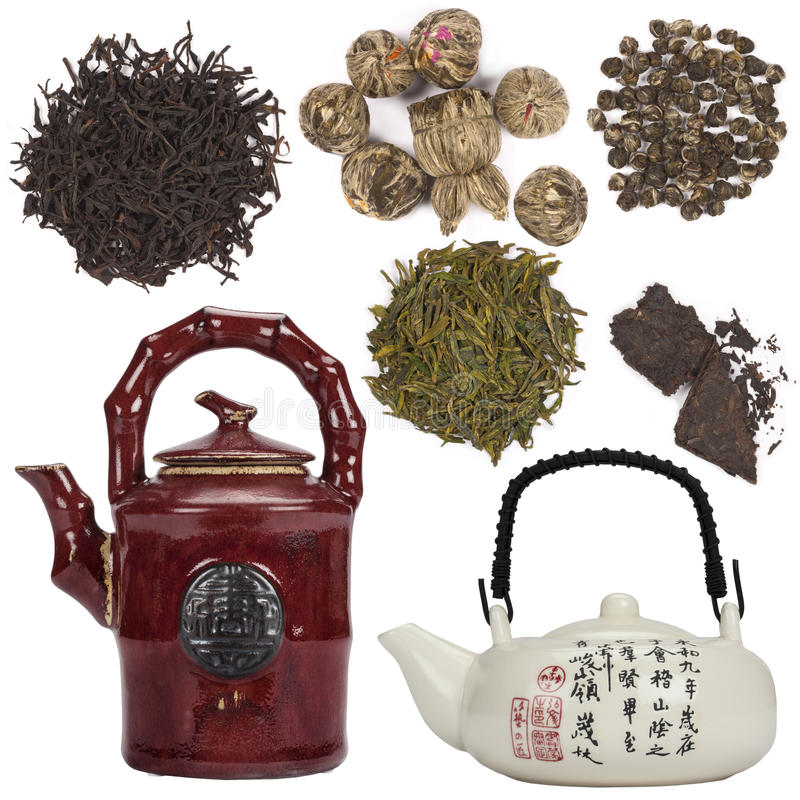 Objets orientaux de thé - d'isolement pour le coupe-circuit photographie stock libre de droits
