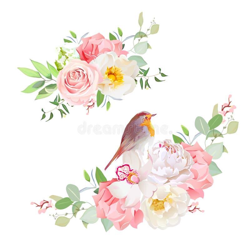 Objets sensibles de conception de vecteur de bouquets de ressort illustration stock