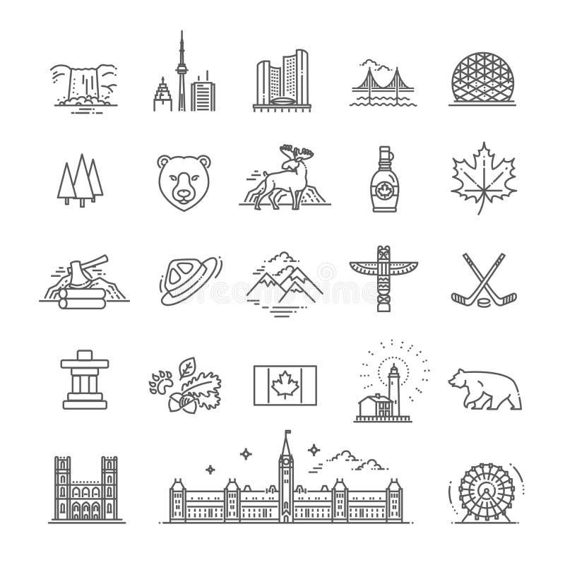 Objets traditionnels de Canada de voyage illustration stock