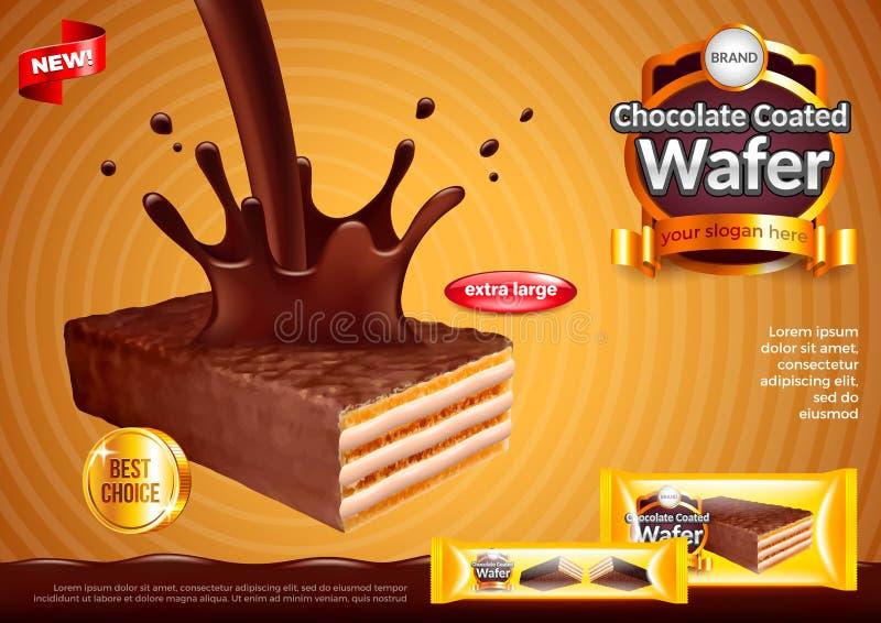 Oblate mit strömendem Schokoladenanzeigen-Vektorhintergrund stock abbildung