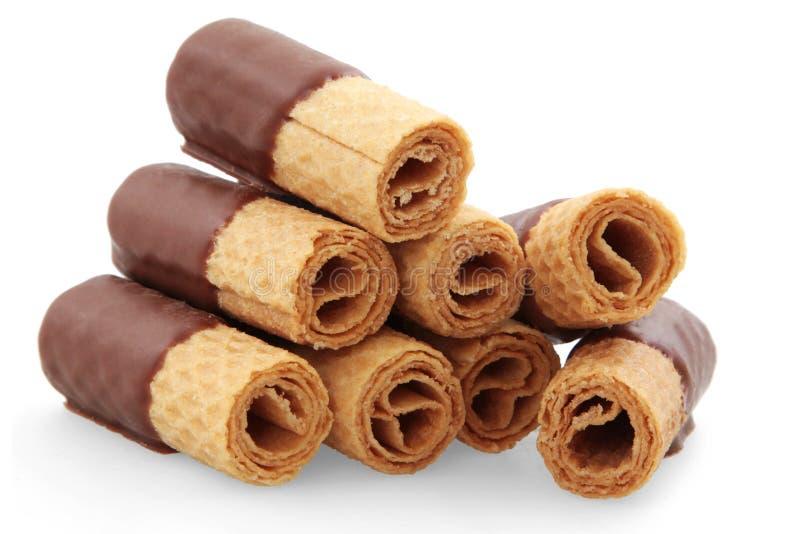 Oblate rollt mit Schokolade lizenzfreie stockbilder