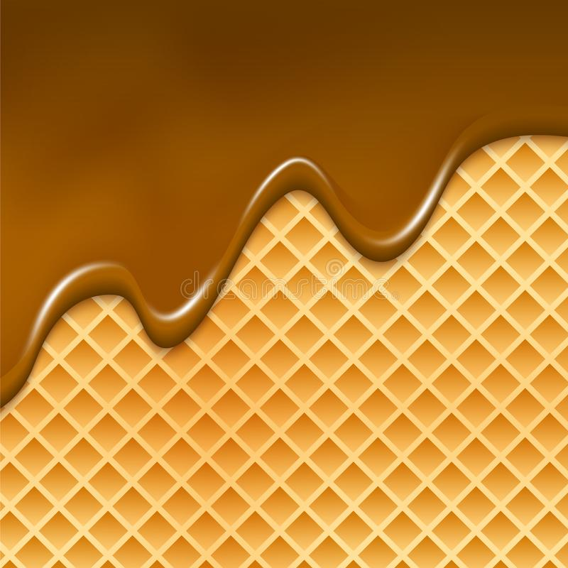 Oblate und flüssiger Schokoladenhintergrund Waffelbeschaffenheits-Süßspeiseillustration mit Schokolade stock abbildung