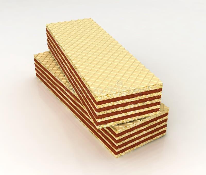 Oblaten füllten mit Schokolade stock abbildung