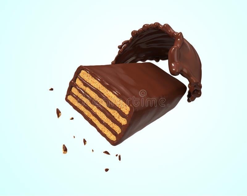 Oblea curruscante con el chapoteo del chocolate libre illustration