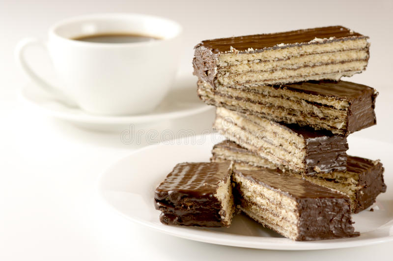 Oblea y café del chocolate imagenes de archivo