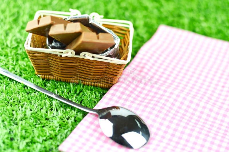 Obleas del chocolate y cuchara del acero inoxidable en hierba en el jardín, SE imagen de archivo
