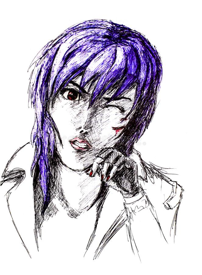 Oblicza ballpoint pióro, emo goth z porysowaną twarzą Paskudny anime styl ilustracja wektor