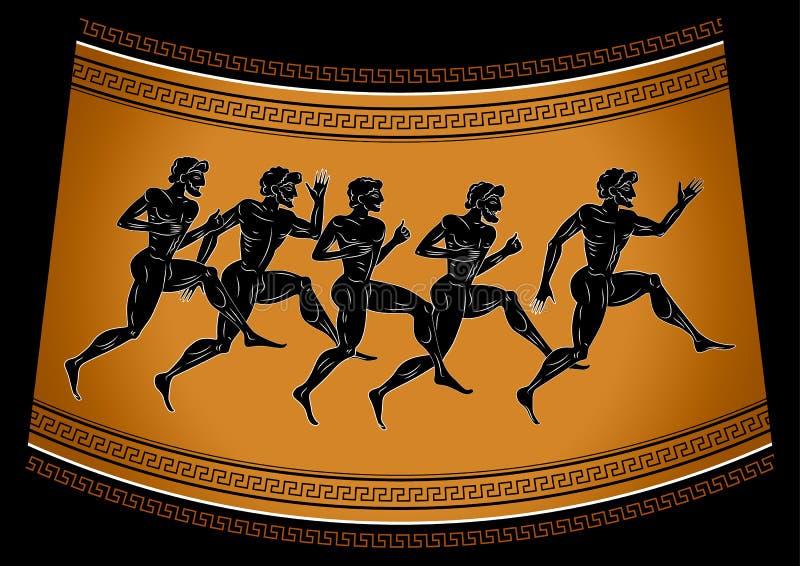 Obliczający biegacze w antyka stylu Ilustracja w starożytnego grka stylu Pojęcie sport gry royalty ilustracja