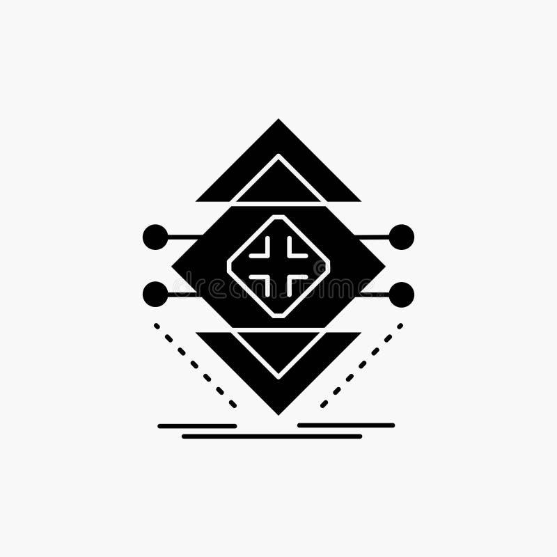 Obliczający, dane, infrastruktura, nauka, struktura glifu ikona Wektor odosobniona ilustracja ilustracji