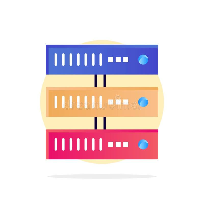 Obliczający, dane, magazyn, sieć okręgu Abstrakcjonistycznego tła koloru Płaska ikona ilustracja wektor