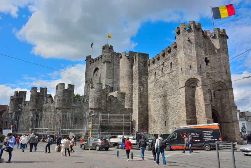 Obliczenia w Ghent są jedynym ximpx średniowiecznym fortecą w Flandryjskim (gravensteen) zdjęcia stock