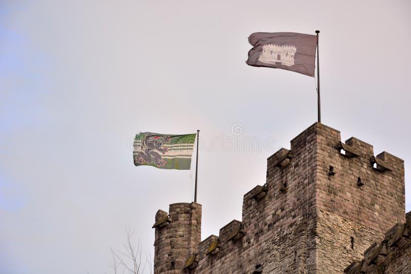 Obliczenia w Ghent są jedynym ximpx średniowiecznym fortecą w Flandryjskim (gravensteen) obrazy stock