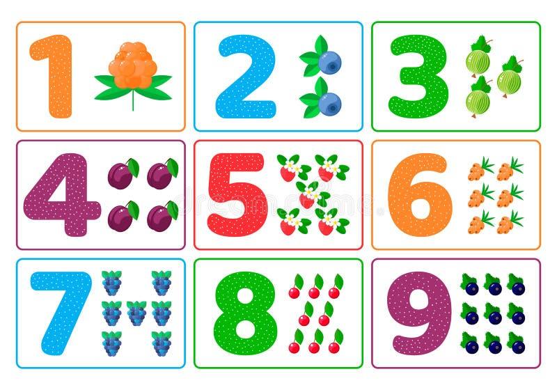 Obliczenie dla dzieciaków jagody Kolor liczby Nauka matematyka dla dzieci dzieciniec, preschool wiek ilustracji