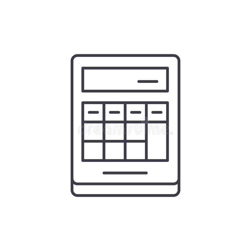 Obliczenie na kalkulator linii ikony pojęciu Obliczenie na kalkulator wektorowej liniowej ilustracji, symbol, znak ilustracja wektor