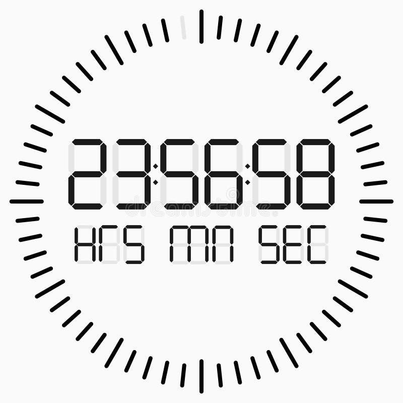 Obliczenie puszka cyfrowy zegar na białym tle royalty ilustracja
