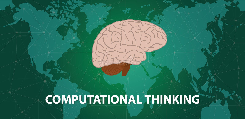 Obliczeniowy myślący pojęcie z ludzkiej głowy mózg na górze światowej mapy z cyberprzestrzeni światowej mapy tłem - wektor royalty ilustracja