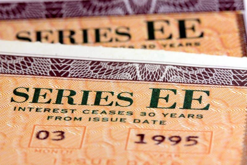 Obligations d'épargne d'épargne sur formules des Etats-Unis - série EE image stock