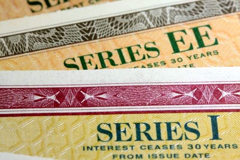 Obligations d'épargne d'épargne sur formules des Etats-Unis - série EE et séries I image stock