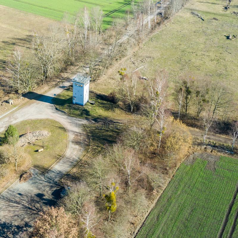 Oblique aerial photograph of a former watchtower at the inner-German border between the Federal Republic of Germany and the German. Democratic Republic., drone stock photography