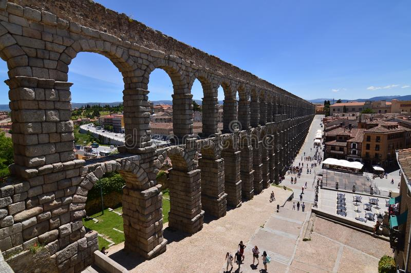 Oblique Side Shot Of The Aqueduct In Segovia. Architecture, Travel, History. royalty free stock photography