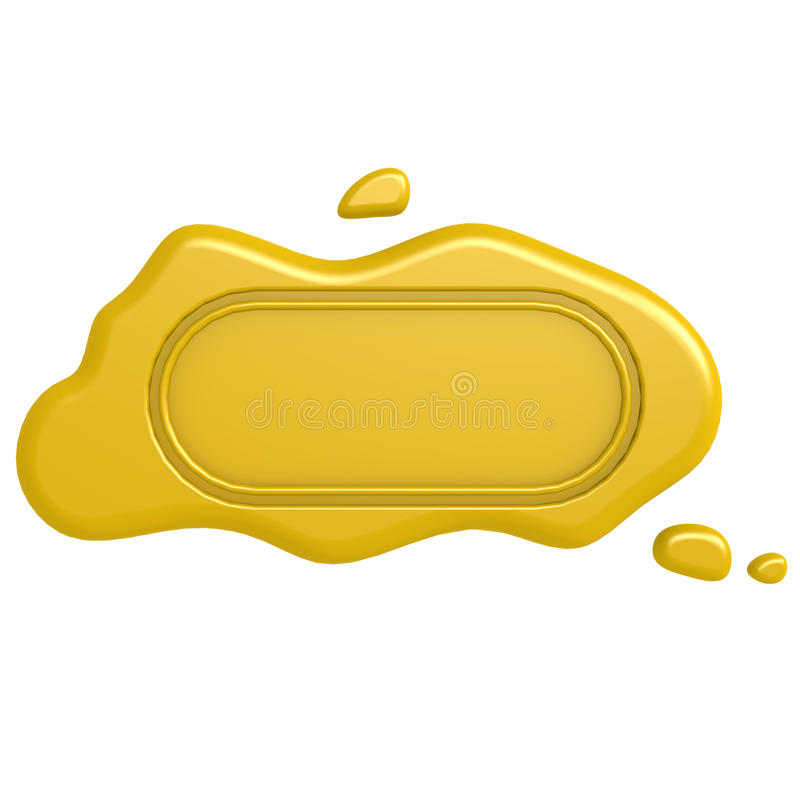 Oblong gold seal. Image with hi-res rendered artwork that could be used for any graphic design stock illustration