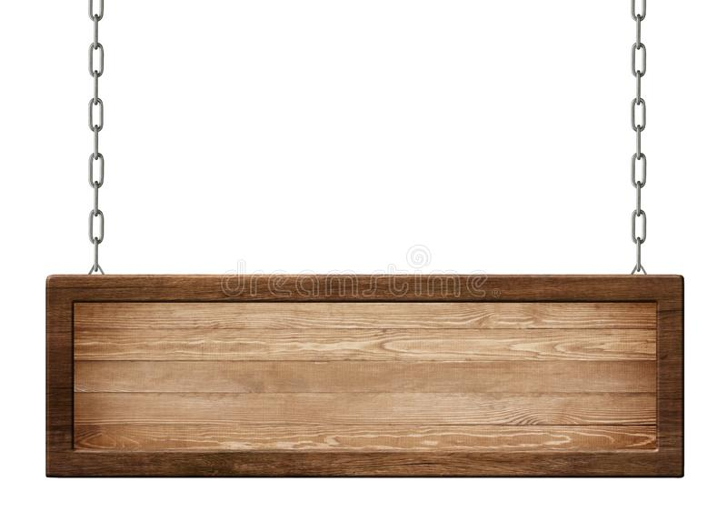 Oblong wooden board with dark frame made of natural wood hanging on chains. Empty oblong sign with dark frame made of natural wood hanging on chains. Isolated on royalty free illustration